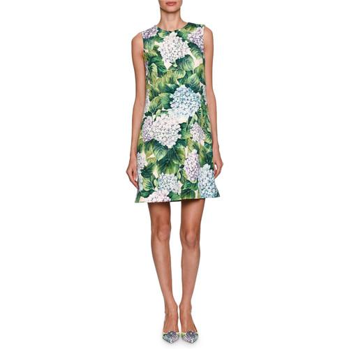DOLCE & GABBANA Hydrangea Sleeveless Brocade Minidress, Green
