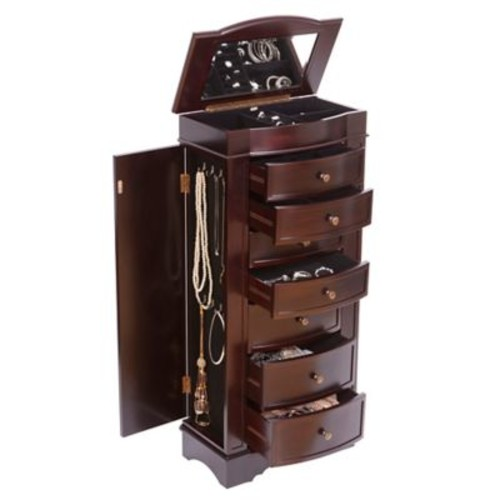 Mele & Co. Chelsea Wooden Jewelry Armoire in Dark Walnut Finish