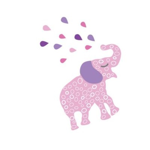 Eco Wall Decals 12 Piece Elephant Wall Decal Set; Pink