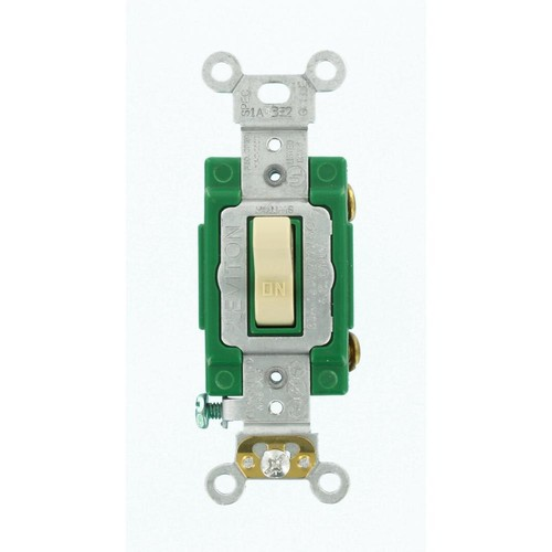 Leviton 30 Amp Industrial Grade Heavy Duty Single-Pole Lighted Handle Toggle Switch, Ivory