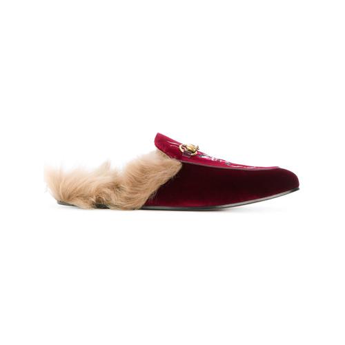 Princetown velvet embroidered slippers