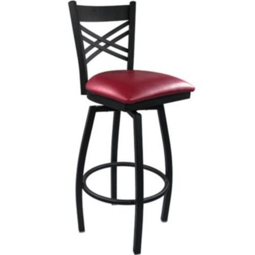 Advantage Cross Back Metal Swivel Bar Stool - Burgundy Padded (SBXB-BFRV-20)