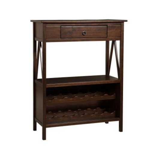 Linon Home Decor Titian Single Drawer 14-Bottle Wine Cart with Shelf in Antique Tobacco