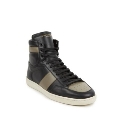 SAINT LAURENT Colorblock Leather High-Top Sneakers