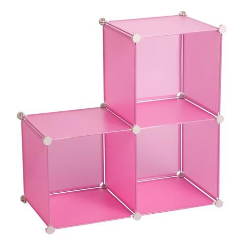 Honey-Can-Do Pink Modular Storage Cube Rack