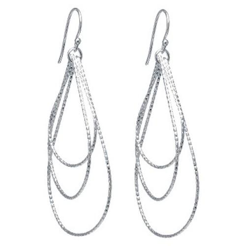 Silver Plated Brass Large Diamond Cut Tear Drop Earrings