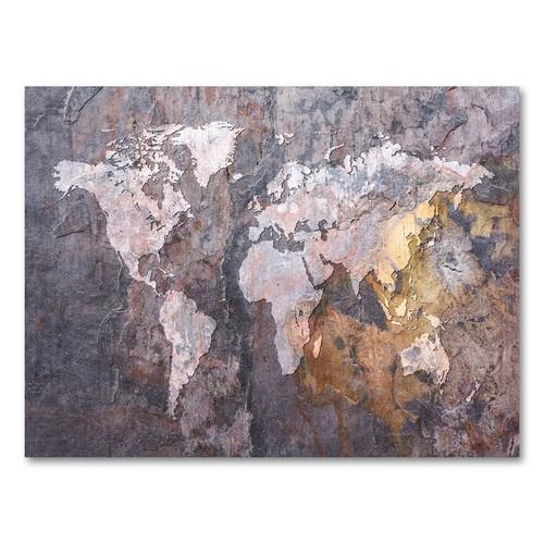 Trademark Global Michael Tompsett 'World Map - Rock' Canvas Art [Overall Dimensions : 24x32]