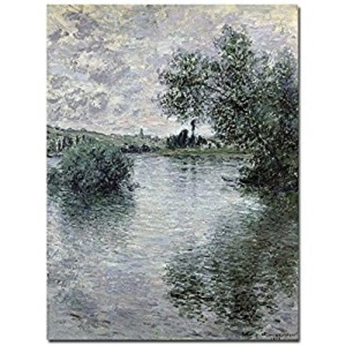 Trademark Fine Art Seine at Vetheuil 1879 by Claude Monet Canvas Wall Art, 18x24-Inch