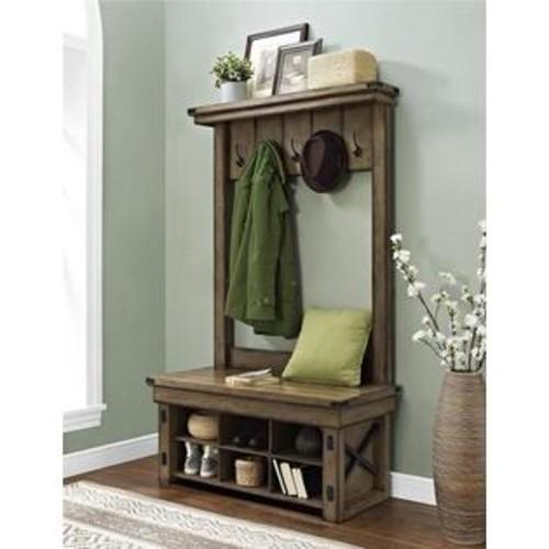 Altra Furniture 67.17 in. Wildwood Veneer Entryway Hall Tree With Storage Bench - Rustic Gray