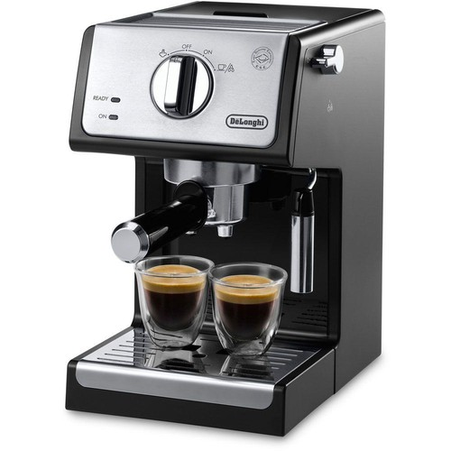 DeLonghi 15-Bar Pump Espresso and Cappuccino Machine in Black/Stainless Steel