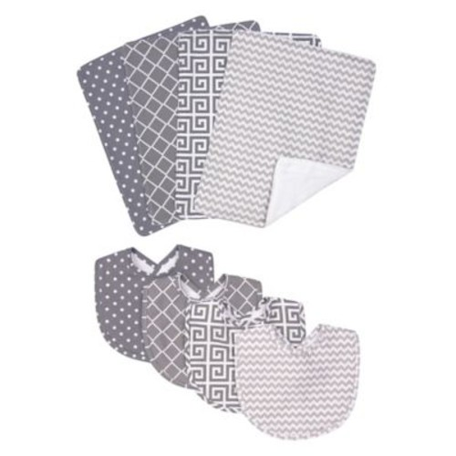 Trend Lab 8-Piece Ombre Grey Bib and Burp Cloth Set