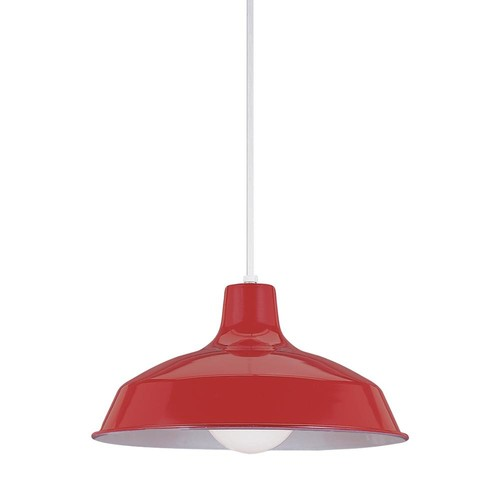 Sea Gull Lighting Painted Shade Pendants 1-Light Red Pendant with LED Bulb