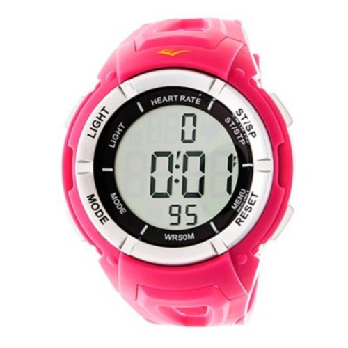 Everlast 42mm HR3 Heart Rate Monitor Watch in Pink Plastic w/Pink Rubber Strap