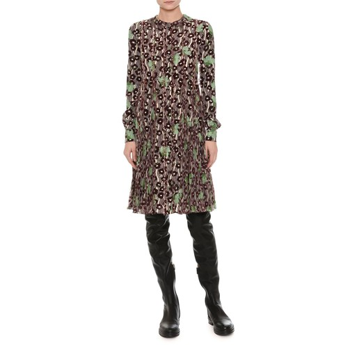 VALENTINO Floral-Embroidered Crepe Dress, Green/Red