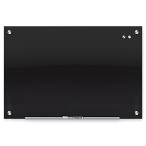 Quartet Infinity Magnetic Black Glass Marker Frameless Board, 96
