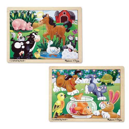 Melissa & Doug On the Farm & Playful Pets Jigsaw Puzzle Bundle