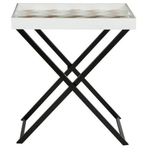 Safavieh Abba Warm Grey and White Tray Side Table