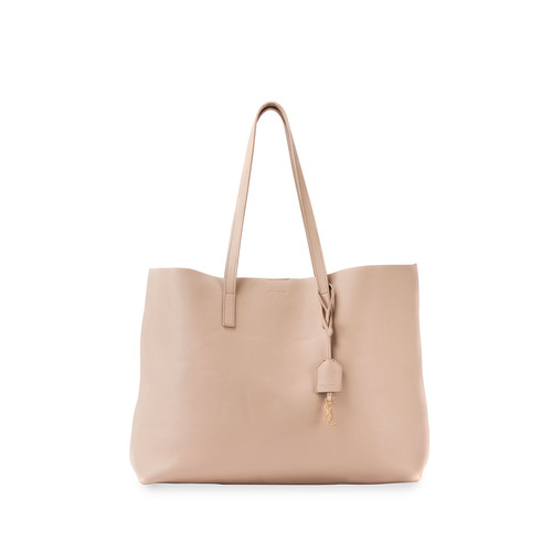 SAINT LAURENT Large East-West Leather Shopper Bag, Dark Beige