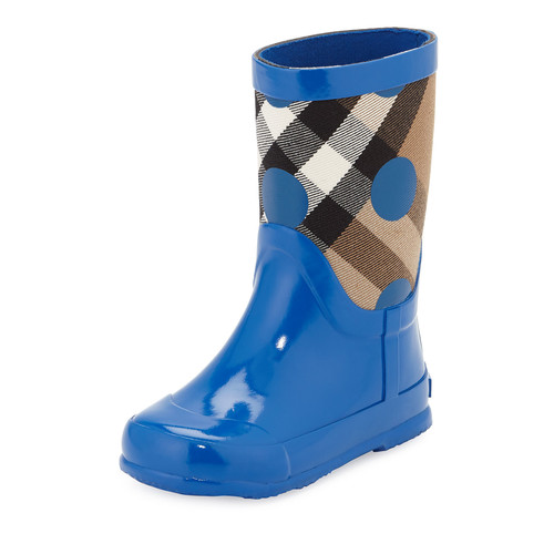 BURBERRY Ranmoor Polka-Dot Rubber Rain Boot, Lupin Blue, Toddler