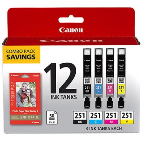 Canon CLI-251 12 Ink Combo Pack with Photo Paper Plus Glossy 4x6