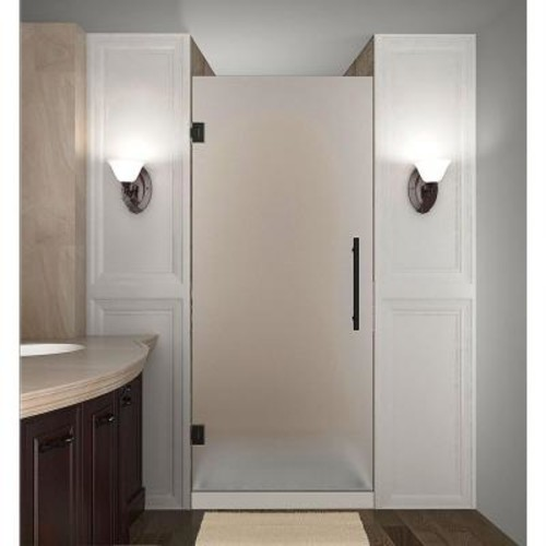 Aston Cascadia 29 in. x 72 in. Completely Frameless Hinged Shower Door with Frosted Glass in Oil Rubbed Bronze
