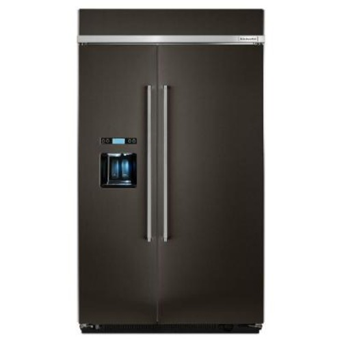 KitchenAid 48 in. W 29.5 cu. ft. Built-In Side by Side Refrigerator in Black Stainless