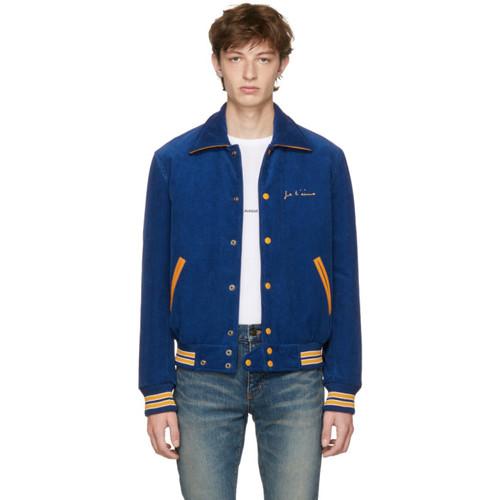 SAINT LAURENT Blue 'Je T'Aime' Teddy Jacket