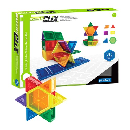 Guidecraft PowerClix Solids - 70 Piece Set