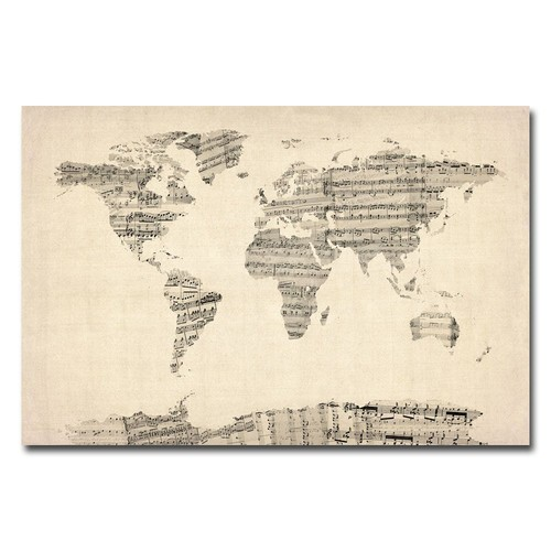 Trademark Global Michael Tompsett 'Old Sheet Music World Map' Canvas Art [Overall Dimensions : 16x24]