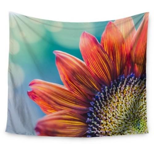 Flower Red Teal Bokeh Ann Barnes Fire & Ice Wall Tapestry (51