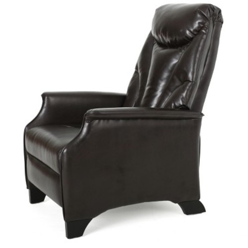 Alastair Stitched Bonded Leather Recliner Club Chair Brown - Christopher Knight Home