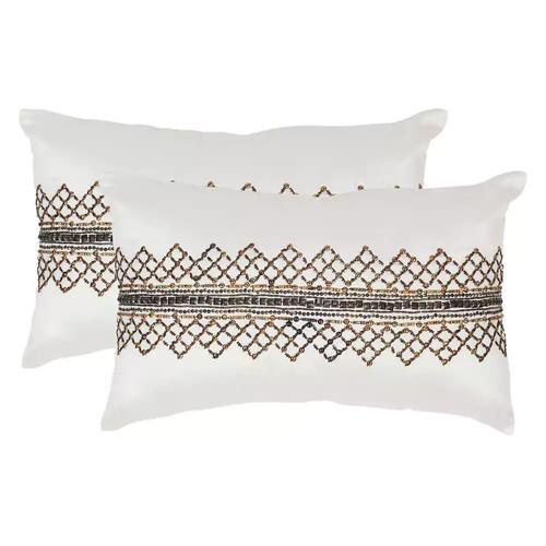 Safavieh Gossamer Metals Rectangle Throw Pillows in Gunmetal (Set of 2)