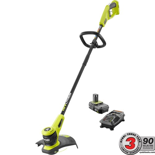 Ryobi ONE+ 18-Volt Lithium-Ion Electric Cordless String Trimmer 2.0 Ah Battery and Charger Included