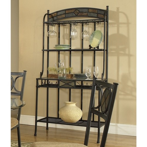 Celine Gunmetal and Tempered Glass Bakers Rack by Greyson Living
