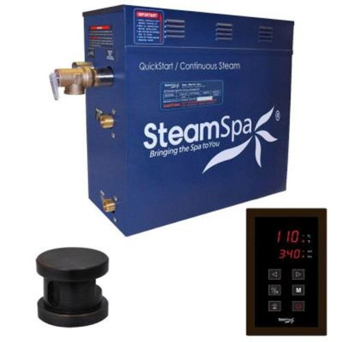 SteamSpa Oasis 9kW QuickStart Steam Bath Generator Package in Polished Oil Rubbed Bronze