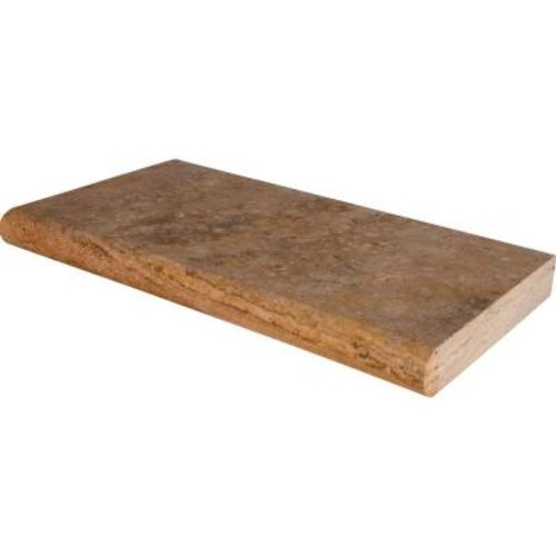MS International Tuscany Scabas 12 in. x 24 in. Brushed Travertine Pool Coping (15 Piece / 30 Sq. ft. / Pallet)
