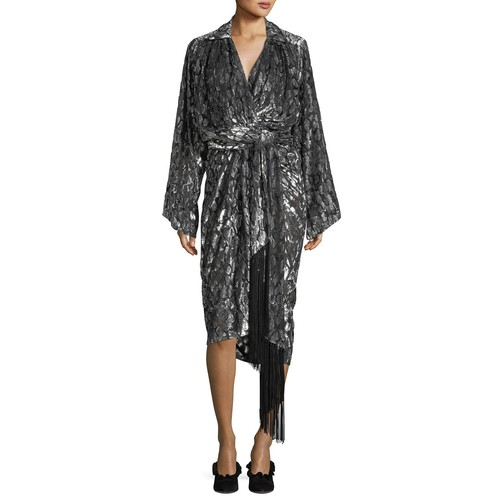 MICHAEL KORS COLLECTION Leopard Velvet Fil Coupe Kimono Wrap Dress