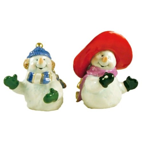 Cosmos Gifts Romantic Snowman Couple Salt and Pepper Set