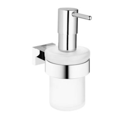 GROHE Essentials Cube Wall-Mounted Soap Dispenser with Holder in StarLight Chrome