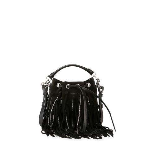 SAINT LAURENT Emmanuelle Small Suede Fringe Bag, Black