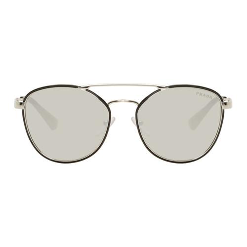 PRADA Black & Silver Double Bridge Aviator Sunglasses