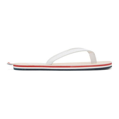 THOM BROWNE White Leather Sandals
