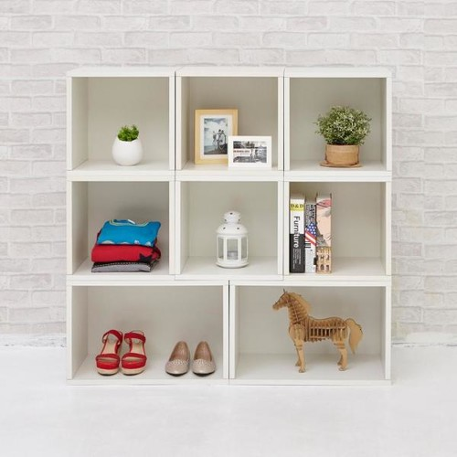 Way Basics Blox System Milan Eco zBoard Tool Free Assembly White Stackable Modular Open Bookcase
