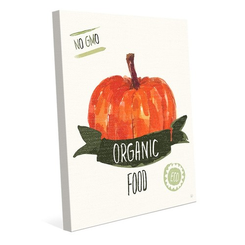 'Organic Food Pumpkin on Green' Canvas Wall Art