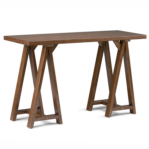 Simpli Home - Sawhorse Console Sofa Table - Medium Saddle-Brown