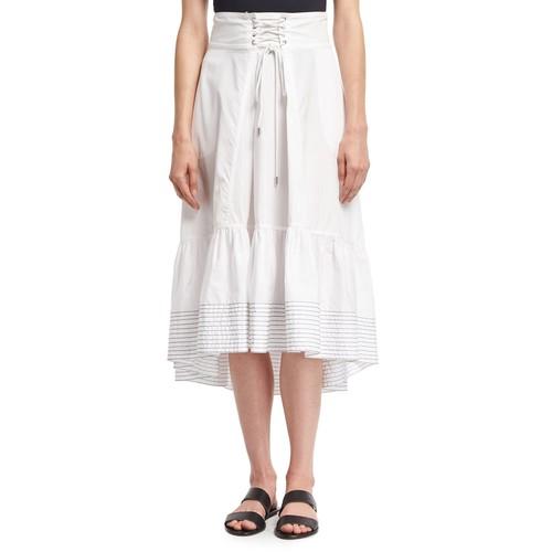 3.1 PHILLIP LIM Victorian Waist Poplin Midi Skirt, White