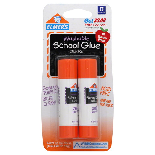 Elmers/X-Acto 25168611 School Glue Sticks, Washable, 2 - 0.21 oz (6 g) sticks [0.42 oz (12 g)]