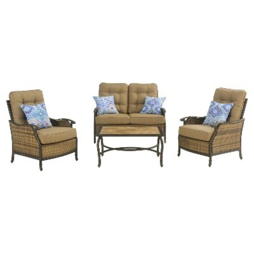 Hanover 4-Piece Outdoor Hudson Square Deep Seating Lounge Set