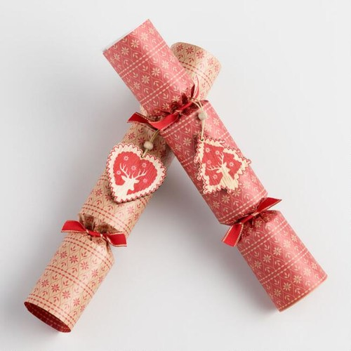 Large Kraft Paper Crackers with Ornaments 6 Count