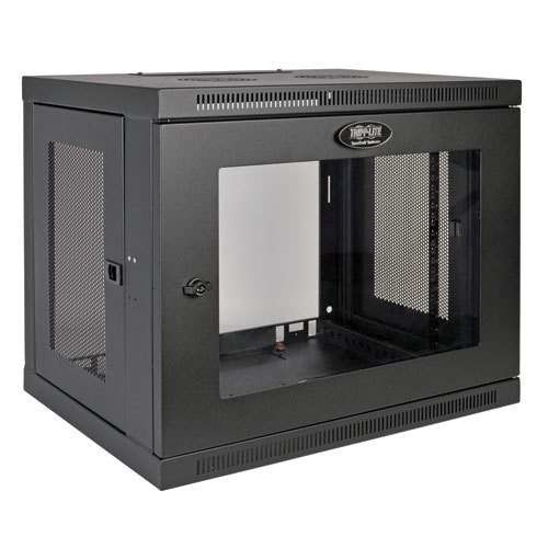 Tripp Lite SRW9UG SmartRack 9U Low-Profile Switch-Depth Wall-Mount Rack Enclosure Cabinet with Clear Acrylic Window